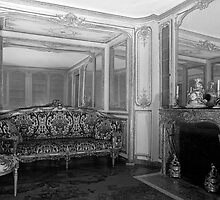 BW France palace versailles Mme du Barry's room 1970s by blackwhitephoto
