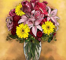 Still life with red and yellow flowers by Artyom Ernst