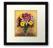 Still life with red and yellow flowers Framed Print