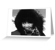 BW USA Alaska eskimo child 1970s Greeting Card