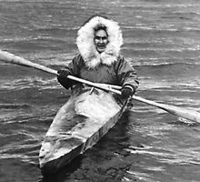 BW USA Alaska eskimo and his kayak 1970s by blackwhitephoto