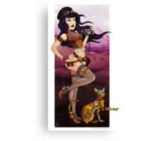 Steampunk traveler and her robot cat Canvas Print