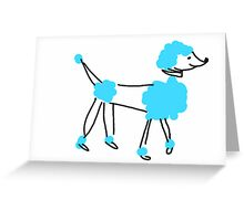 Blue Poodle Greeting Card
