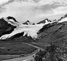 BW USA Alaska Worthington glacier in summer 1970s by blackwhitephoto