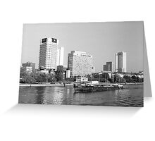 BW Germany Frankfurt Main river 1970s Greeting Card