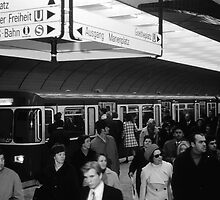 BW Germany Munich Underground Station Marienplatz 1970s by blackwhitephoto