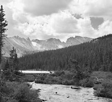 Indian Peaks Rainy Summer Day BW by Bo Insogna
