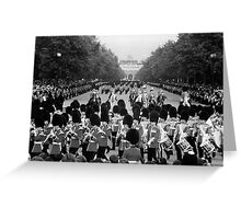 BW UK England the Guards returning along the Mall 1970s Greeting Card