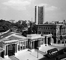 BW UK England London Hyde park corner Hilton 1970s by blackwhitephoto