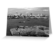 BW UK England river thames London skyline city 1970s  Greeting Card