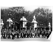 BW UK England London Changing guard Buckingham palace 1970s Poster