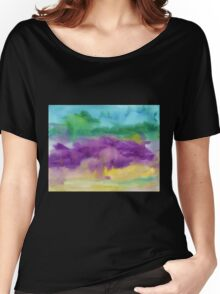 Abstract Watercolor Painting Blue Purple Green Yellow Women's Relaxed Fit T-Shirt