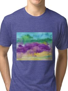 Abstract Watercolor Painting Blue Purple Green Yellow Tri-blend T-Shirt