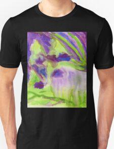 Abstract Watercolor Iris Field Purple Blue Green T-Shirt