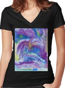 Abstract Watercolor Painting Blue Purple Green Yellow Women's Fitted V-Neck T-Shirt