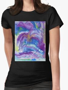 Abstract Watercolor Painting Blue Purple Green Yellow Womens Fitted T-Shirt