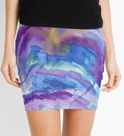 Abstract Watercolor Painting Blue Purple Green Yellow Mini Skirt