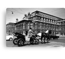 BW Austria Vienna Fiaker Staatsoper opera 1970s Canvas Print