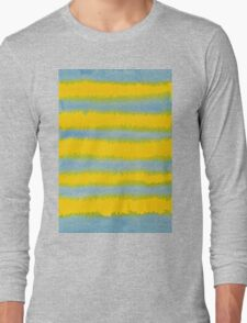Abstract Hand-Painted Watercolor Stripes Blue Yellow Long Sleeve T-Shirt