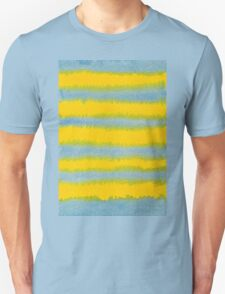 Abstract Hand-Painted Watercolor Stripes Blue Yellow T-Shirt