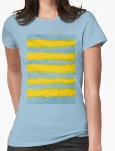 Abstract Hand-Painted Watercolor Stripes Blue Yellow Womens Fitted T-Shirt