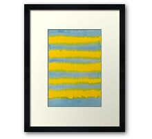 Abstract Hand-Painted Watercolor Stripes Blue Yellow Framed Print