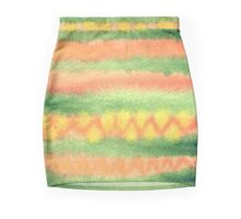 Hand-Painted Watercolor Stripes Green Orange Mini Skirt