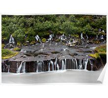 waterfall Hraunfossar Poster