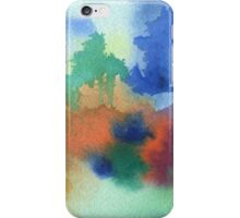 Hand-Painted Abstract Watercolor in Blue Orange Green Red iPhone Case/Skin