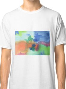 Hand-Painted Abstract Watercolor in Blue Orange Green Red Classic T-Shirt