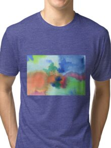 Hand-Painted Abstract Watercolor in Blue Orange Green Red Tri-blend T-Shirt