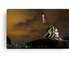 Iwo Jima Memorial with lightning stick in backgroud Canvas Print