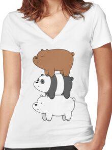 We Bare Bears Women's Fitted V-Neck T-Shirt