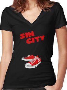 Sin City Converse Women's Fitted V-Neck T-Shirt