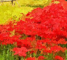 Red Spider Lilies Vivid Rice Field Rural Painterly Sticker