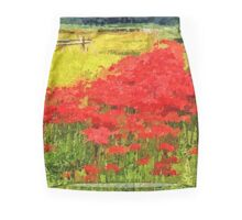 Red Spider Lilies Vivid Rice Field Rural Painterly Mini Skirt
