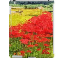 Red Spider Lilies Vivid Rice Field Rural Painterly iPad Case/Skin