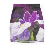Painterly Purple Single Iris Flower in Early Summer Mini Skirt