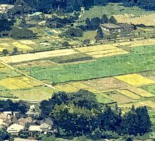 Rural Japan Rice Fields Forest Countryside Village Sticker