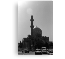 BW Iraq Baghdad mosque taxis 1970s Canvas Print