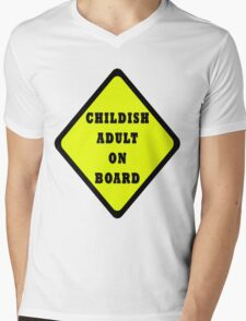 Childish Adult On Board Mens V-Neck T-Shirt