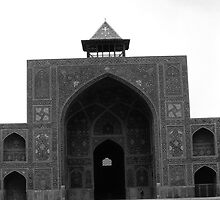 BW Iran  Isfahan west iwan Imam Mosque 1970s by blackwhitephoto