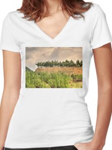 a mysterious landscape... Women's Fitted V-Neck T-Shirt