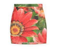 Vivid Orange African Daisy Digital Oil Painting Mini Skirt