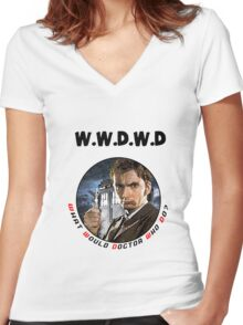 WWDWD - What Would Doctor Who Do? Women's Fitted V-Neck T-Shirt