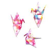 Origami cranes scanogram by Tessa Manning