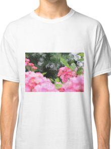 Painterly Pink Wild Roses with Green White Swirls 2 Classic T-Shirt