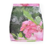 Painterly Pink Wild Roses with Green White Swirls 2 Mini Skirt