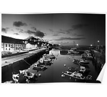 Night photography - B & W of Carnlough. Poster