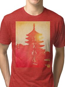 Happy New Year Vermillion Sunset Pagoda Tri-blend T-Shirt